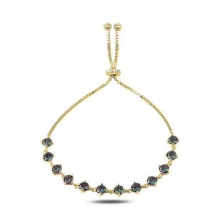 Bratara tenis din argint 925 aurit cu zirconii topaz mistic - Be Elegant BTU0106