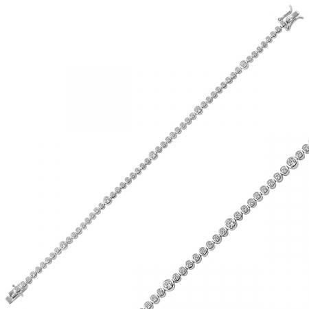 Bratara tenis din argint 925 placata cu rodiu, cu zirconii - Lungime: 18 cm