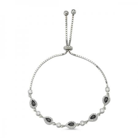 Bratara tenis din argint 925 rodiat cu zirconii negre si albe - Be Elegant BTU0111