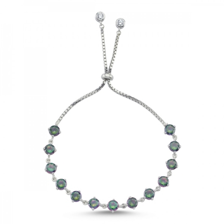 Bratara tenis din argint 925 rodiat cu zirconii topaz mistic - Be Elegant BTU0116