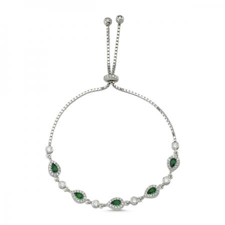Bratara tenis din argint 925 rodiat cu zirconii verzi si albe - Be Elegant BTU0110