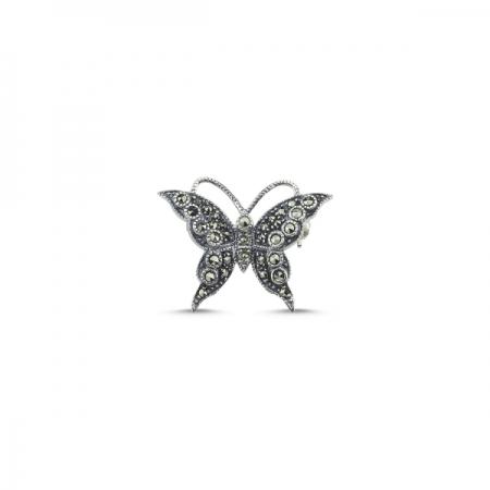 Brosa fluturas din argint 925 cu marcasite - Be Nature BRT0001