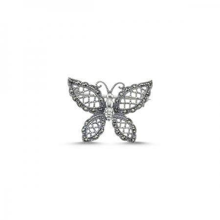 Brosa fluturas din argint 925 cu marcasite - Be Nature BRT0002