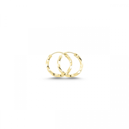 Cercei agint cu cerc răsucit de 12 mm placati cu aur