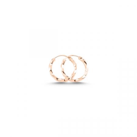Cercei agint cu cerc răsucit de 12 mm placati cu aur roz