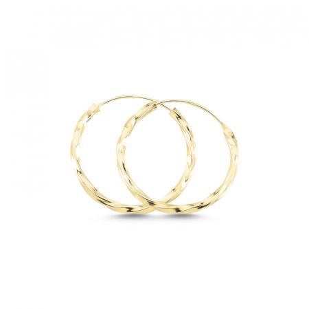 Cercei agint cu cerc răsucit de 20 mm placati cu aur
