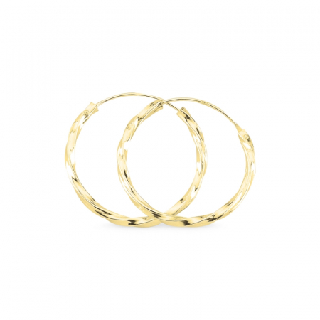 Cercei agint cu cerc răsucit de 25 mm placati cu aur