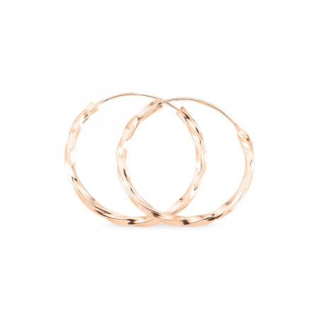 Cercei agint cu cerc răsucit de 25 mm placati cu aur roz