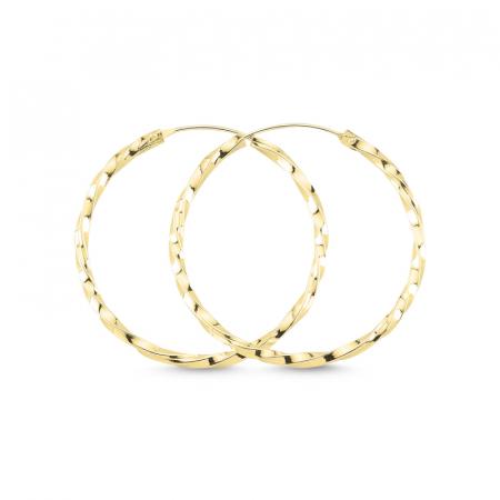 Cercei agint cu cerc răsucit de 35 mm placati cu aur