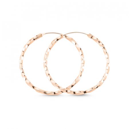 Cercei agint cu cerc răsucit de 35 mm placati cu aur roz