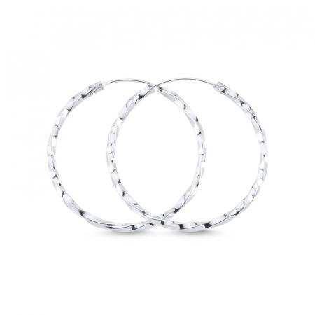 Cercei agint cu cerc răsucit de 35 mm placati cu rodiu