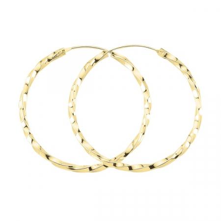 Cercei agint cu cerc răsucit de 45 mm placati cu aur
