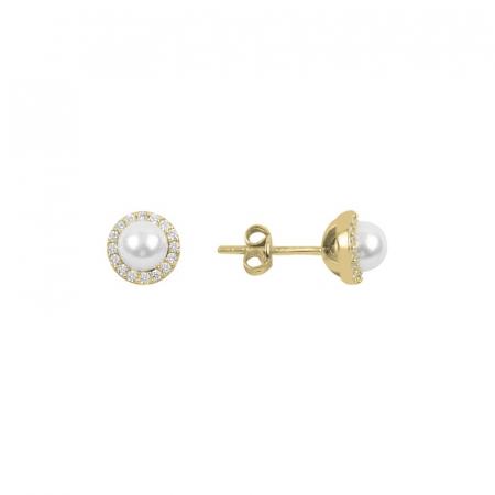 Cercei agint cu perla si zirconii placati cu aur
