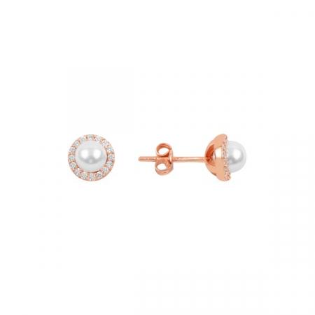 Cercei agint cu perla si zirconii placati cu aur roz