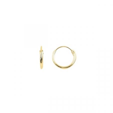 Cercei agint simpli cu cerc de 10 mm placati cu aur