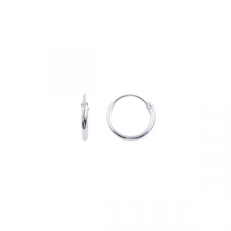 Cercei agint simpli cu cerc de 10 mm placati cu rodiu