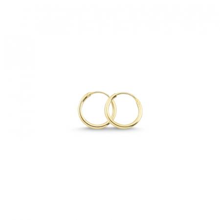 Cercei agint simpli cu cerc de 12 mm placati cu aur