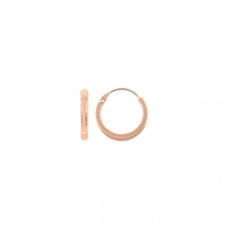 Cercei agint simpli cu cerc de 12 mm placati cu aur roz