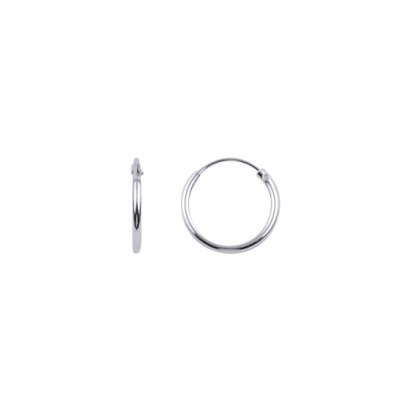Cercei agint simpli cu cerc de 12 mm placati cu rodiu