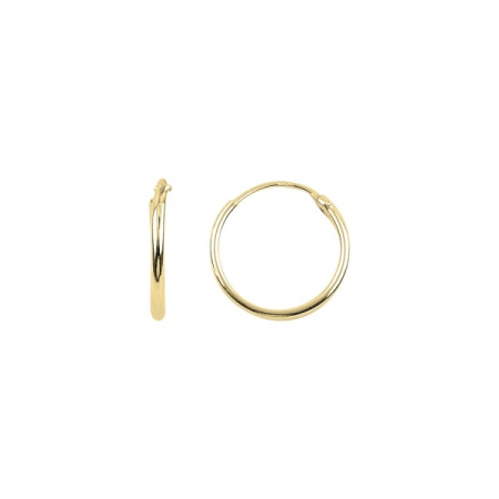 Cercei agint simpli cu cerc de 14 mm placati cu aur