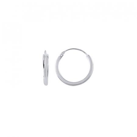 Cercei agint simpli cu cerc de 14 mm placati cu rodiu