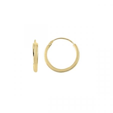 Cercei agint simpli cu cerc de 16 mm placati cu aur