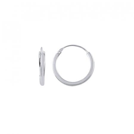 Cercei agint simpli cu cerc de 16 mm placati cu rodiu