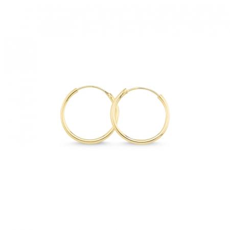 Cercei agint simpli cu cerc de 18 mm placati cu aur