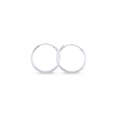 Cercei agint simpli cu cerc de 18 mm placati cu rodiu