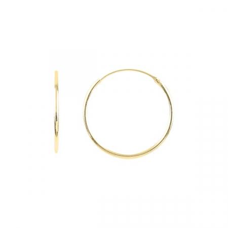 Cercei agint simpli cu cerc de 20 mm placati cu aur