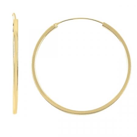 Cercei agint simpli cu cerc de 45 mm placati cu aur