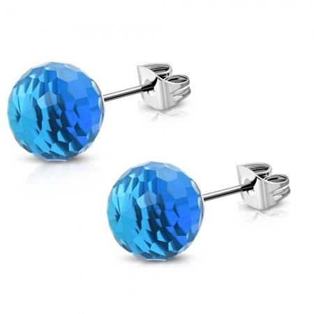 Cercei albastri din inox model disco