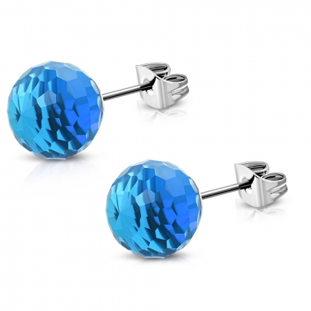 Cercei albastri din inox model disco1