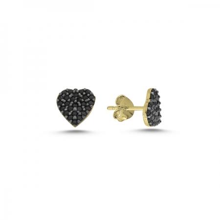 Cercei argint 925 aurit cu inimioare si zirconii negre - Be in Love ETU0071