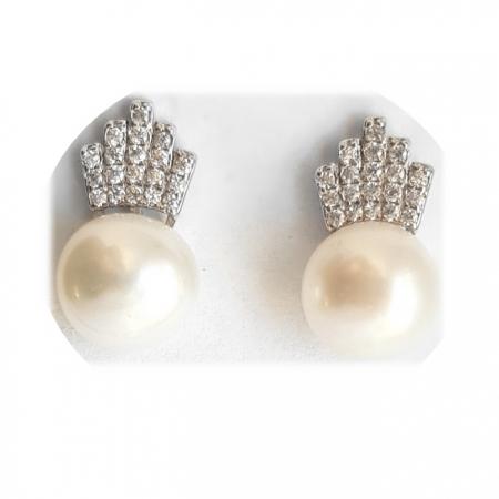 Cercei argint 925 coroane cu perle CER06981