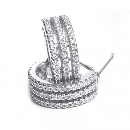 Cercei eleganti din argint 925 rodiat cu zirconii CER08111