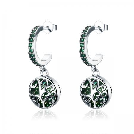 Cercei argint 925 cu copacul vietii, cristale si zirconii verzi - Be Nature  EST0015