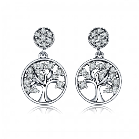 Cercei argint 925 cu copacul vietii si zirconii albe - Be Nature  EST0006
