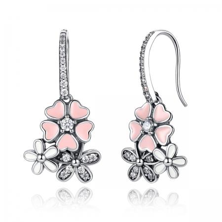 Cercei argint 925 cu floricele si zirconii albe - Be Nature EST0003