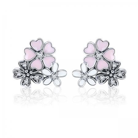 Cercei argint 925 cu floricele si zirconii albe - Be Nature EST0023