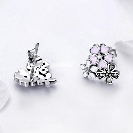 Cercei argint 925 cu floricele si zirconii albe - Be Nature EST00231