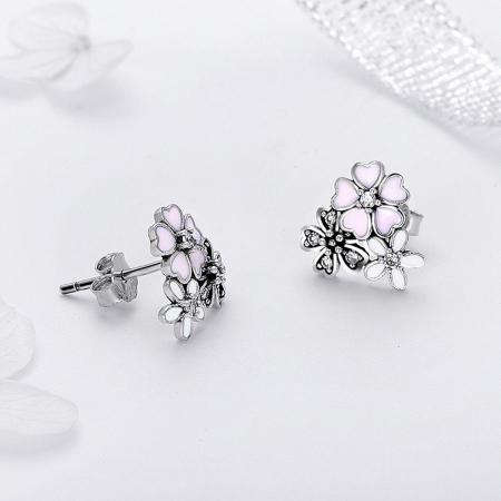 Cercei argint 925 cu floricele si zirconii albe - Be Nature EST00233