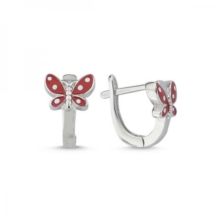 Cercei argint 925 cu fluturasi rosii - Be Nature ETU0078