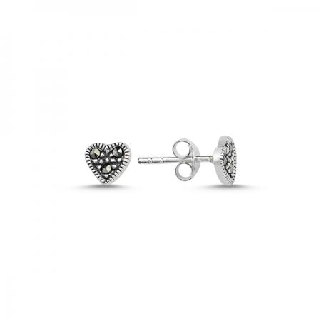 Cercei argint 925 cu inimioare si marcasite - Be in Love ETU0069