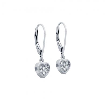 Cercei argint 925 cu inimioare si zirconii ESX0363