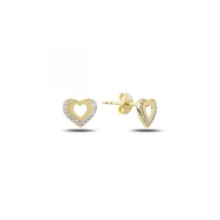 Cercei argint 925 cu inimioare si zirconii, placati cu aur - ETU0127