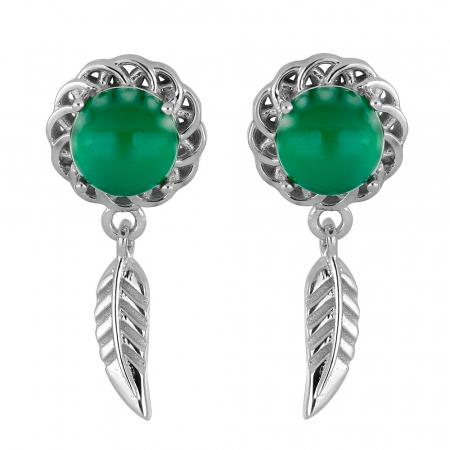 Cercei argint 925 cu onix verde - EVA0050