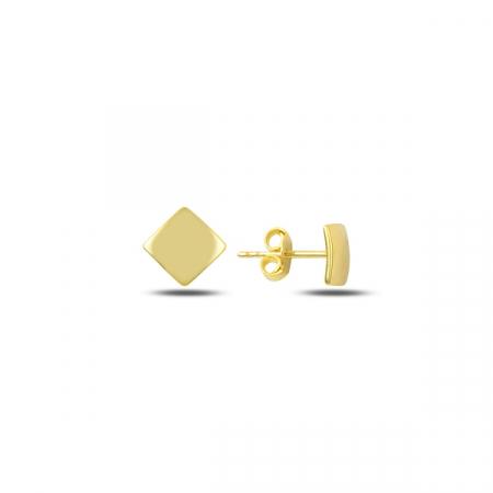 Cercei argint 925 cu patrat, placati cu aur - ETU0125