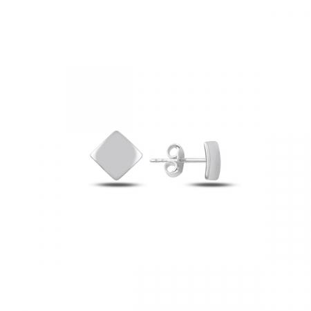 Cercei argint 925 cu patrat, placati cu rodiu - ETU0126