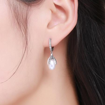 Cercei argint 925 cu perle fine si zirconii albe - Be Nature EST00135